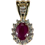 Heart Filigree Ruby Diamond Pendant 1.25ctw 14k Gold Emerald Cut Diamond Ruby Pendant