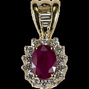 Heart Filigree Ruby Diamond Pendant 1.25ctw 14k Gold Emerald Cut Diamond Ruby Pendant