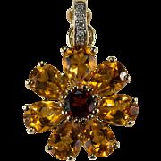 Citrine Garnet Diamond Enhancer 14k Gold Citrine Flower Pendant