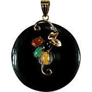 Genuine Black Jade Disc Pendant 14k Gold Mixed Color Jade Flower Mixed Jade Pendant