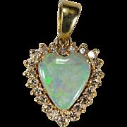 Natural Opal Heart Diamond Pendant 14k Gold Precious Heart Opal Diamond Halo Pendant