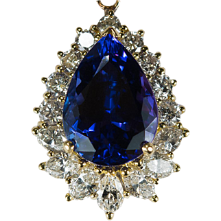 Natural Tanzanite Diamond Pendant 9.35ctw 18k Gold Tanzanite Pendant Enhancer