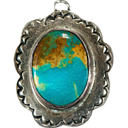 Natural Royston Turquoise Sterling Silver Hand Crafted Pendant