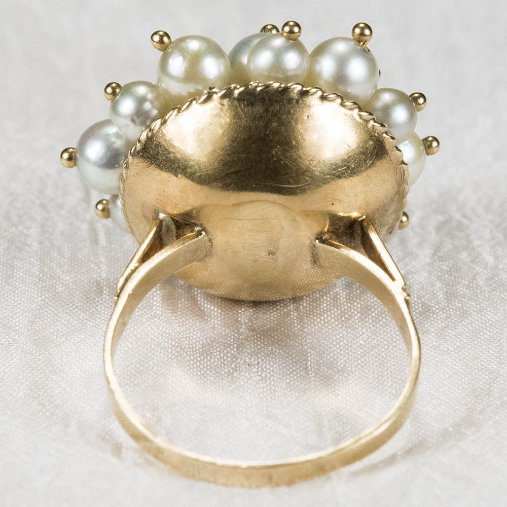 magical art deco moving cultured baroque pearl 14k gold ring sold on ruby lane. Black Bedroom Furniture Sets. Home Design Ideas