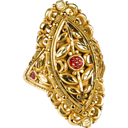 Exotic Flower Filigree Enamel Ring 21k Gold