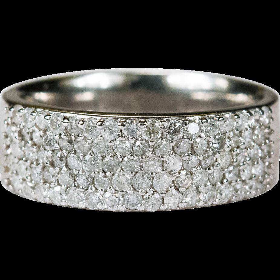Wide Cigar Band Diamond Ring 14k Gold Wedding Band Stacking Ring
