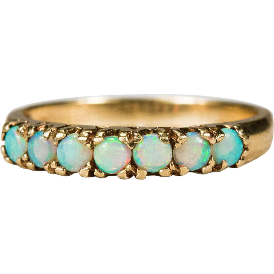 Natural Opal Ring 10k Gold Opal Wedding Band Stacking Ring SOLD on