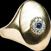 Natural Sapphire Diamond Ring 750 18k Gold