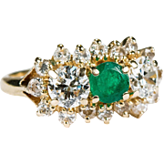 Natural Old European Cut Diamond Emerald Ring 14k Gold Past Present Future Emerald Diamond Ring