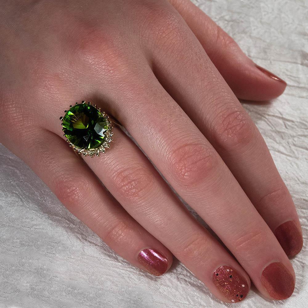 Natural Apple Green Peridot Solitaire Ring Ct