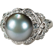 Antique Tahitian Silver Pearl Diamond Platinum Ring