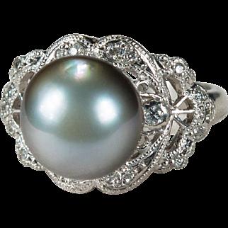 Antique Silver Pearl Diamond Platinum Ring