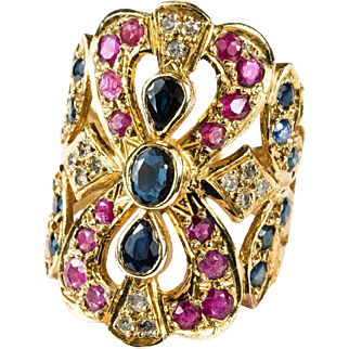 Sapphire Ruby Diamond Ring 750 18k Gold Filigree Wide Band Mixed Gemstone Ring