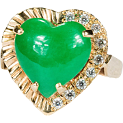 Double Sided Puffy Heart Jade Ring 18k Gold Hand Crafted Apple Jade Paste Ring