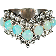 2.55ctw Natural Opal Diamond Band 14k Gold Opal Ring