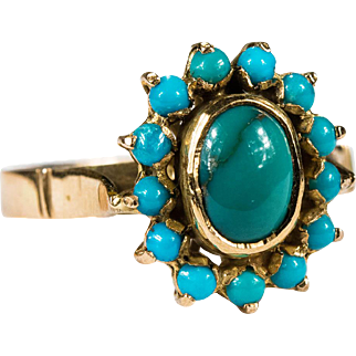 Natural Persian Turquoise Ring 14k Gold Hand Crafted Turquoise Halo Ring