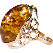 Russian Natural Baltic Amber Ring 14k 583 Rose Gold Hallmarked