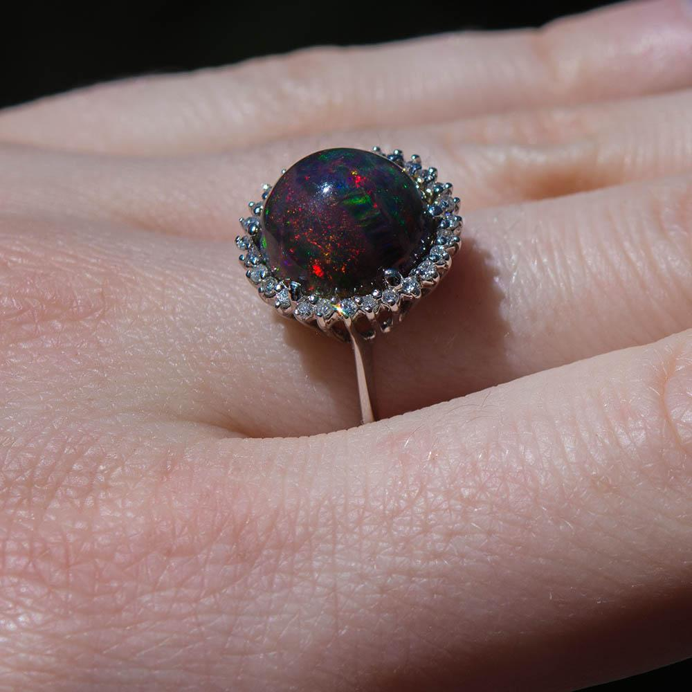 6 28ctw Natural Black Opal Diamond Ring 585 14k Gold Opal Ring