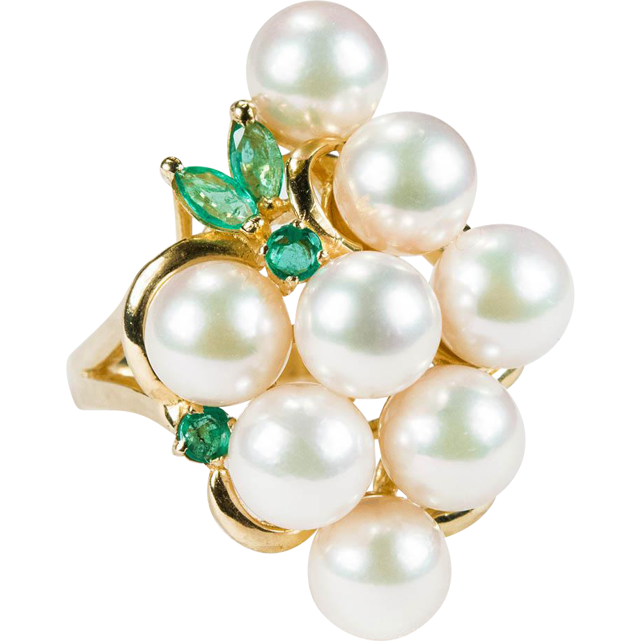 vintage pearl grapes emerald ring 585 14k gold cultured