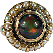 Natural Australian Black Opal Pearl Ring 14k Gold