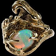 Natural Opal Dragon Ring 14k Gold Opal Ring