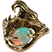 Natural Opal Dragon Ring 14k Gold Opal Ring