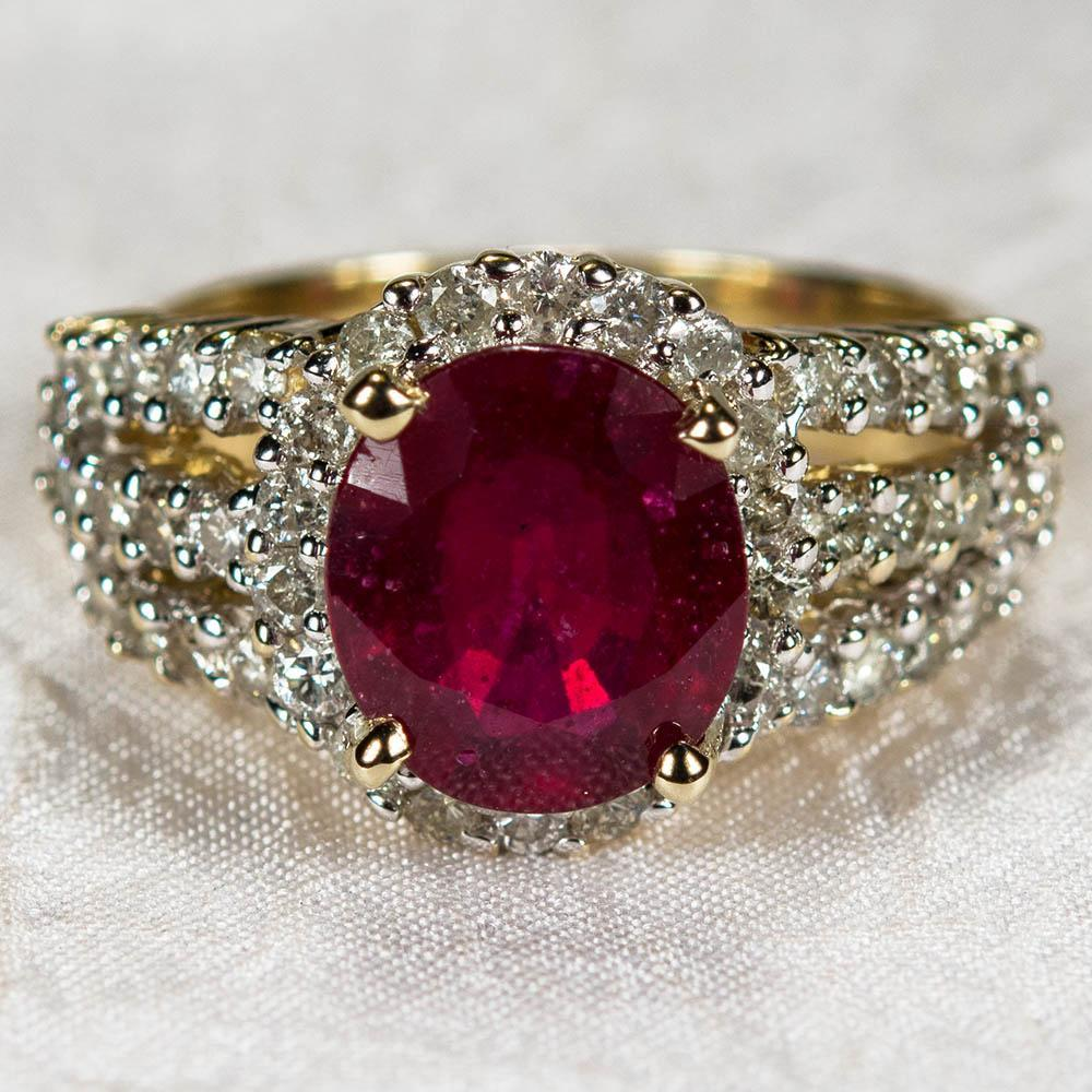 Vintage Genuine Ruby Diamond Ring 14k Gold Diamond Halo
