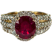 Vintage Genuine Ruby Diamond Ring 14k Gold Diamond Halo Solitaire Ruby Ring