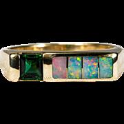 Vintage Kabana Opal Tourmaline Ring 14k Gold Opal Inlay Band Stacking Ring