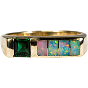 Kabana Opal Tourmaline Ring 14k Gold Opal Inlay Band Tourmaline Opal Stacking Ring