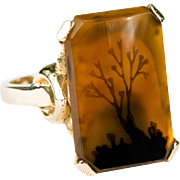 Natural Dendritic Picture Agate Ring 14k Gold Silhouette