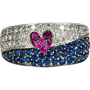 3.06ctw Heart Ruby Sapphire Diamond Ring 14k Gold Red White Blue USA Patriotic Jewelry
