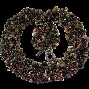 Natural Tourmaline Torsade Necklace Sterling Silver Tourmaline Necklace