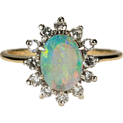 Natural Opal Diamond Ring 14k Gold Diamond Halo Opal Ring