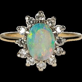 Natural Opal Diamond Ring 14k Gold Diamond Halo Opal Ring