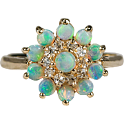 Natural Opal Diamond Princess Harem Ring 14k Gold Opal Ring