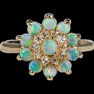 Natural Opal Diamond Princess Harem Ring 14k Gold Opal Ring