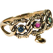Heart Charm Ruby Sapphire Emerald Ring 9k Gold Mixed Gemstone Ring