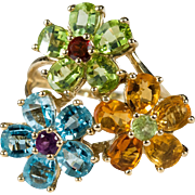 Citrine Peridot Topaz Ring 14k Gold Mixed Gemstone Designer Flower Ring