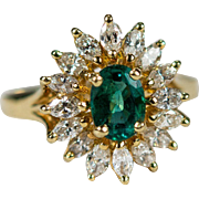 3.25ctw Emerald Ballerina Diamond Ring 18k Gold Marquise Diamond Halo Emerald Ring