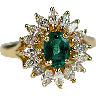 3.25ctw Emerald Ballerina Diamond Ring 18k Gold Marquise Diamond Halo Emerald Ring