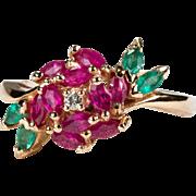 Franklin Mint Rose Ring 18k Gold Emerald Ruby Diamond Ring
