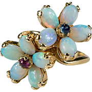 Natural Opal Ruby Sapphire Ring 14k Gold Opal Flowers Ring