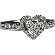 Heart Diamond Ring 14k Gold .95ctw Diamond Engagement Ring