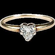 Solitaire Heart Diamond Ring 14k Plumb Gold Heart Diamond Engagement Ring