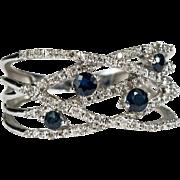 Sapphire Diamond Weave 14k Gold Bypass Ring