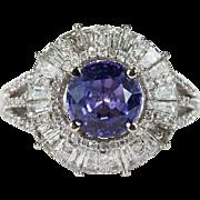 Purple Sapphire Diamond Ring  6.0ctw 14k Gold Cluster Cocktail Diamond Sapphire Ring Lavender Sapphire