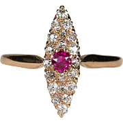 Victorian Ruby Diamond Ring 14k Rose Gold Old Mine Cut Ruby Navette Ring