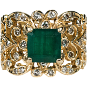 Butterfly Emerald Diamond Band 2.50ctw 14k Gold Butterfly Filigree Natural Diamond Emerald Ring
