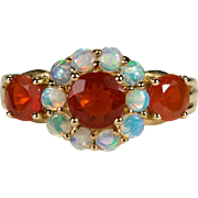 Natural Orange Fire Opal Precious Opal Ring 2ctw 10k Gold Mixed Gemstone Ring